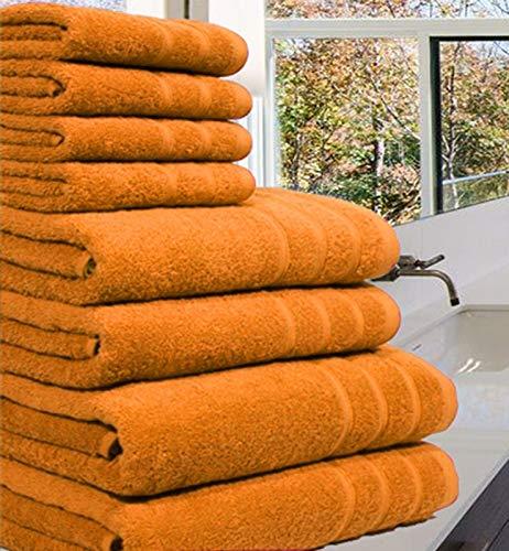 Luxuriöses Handtuch-Set aus 100 % luxuriöser, ägyptischer Baumwolle,8Stück, 550 g/m², in extra großen Größen erhältlich, baumwolle, Orange, 8 Pieces Set -