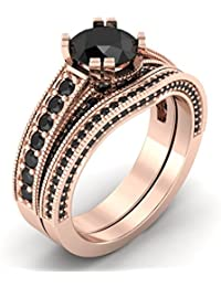 Naitik Jewels 92.5 Sterling Silver Wedding Ring Set In Rose Gold Plated Ring Set For Women