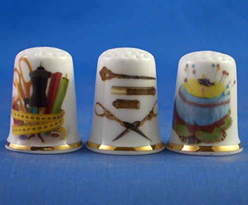 Porcelana China colección dedales Juego tres costura