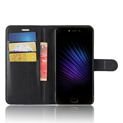 SMTR LEAGOO T5 Wallet Tasche Hülle - Ledertasche im Bookstyle in Schwarz - [Ultra Slim][Card Slot][Handyhülle] Flip Wallet Case Etui für LEAGOO T5