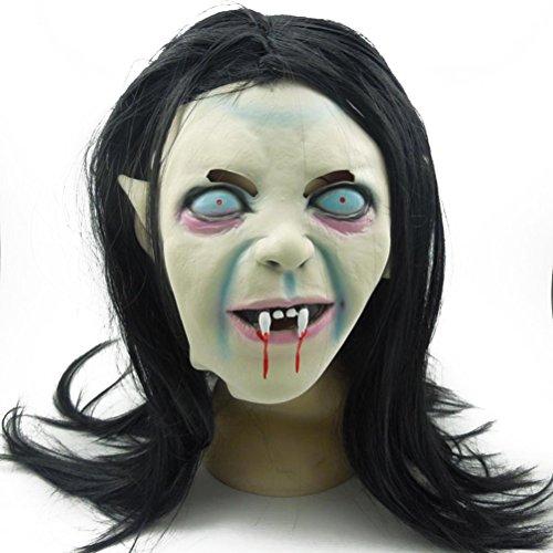 (VORCOOL Halloween Horrific Maske Gruselige erschreckende Toothy Zombie Geistermaske mit Haaren für Cosplay Kostüm)