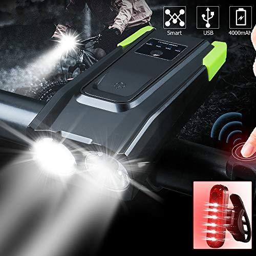 siqiwl Fahrradlicht 20000LM USB Aufladbare Smart Fahrrad Licht Induktion 4000mAh Fahrrad Front Licht Mit Horn LED Fahrrad Lampe Reiten Licht Rücklicht
