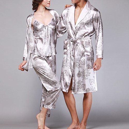 Zhhlaixing Lovers Comfortable Long sleeves Pajamas Nightgown Sexy Silk Sleepwear Gray
