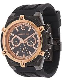 Cerruti SANTIAGO - Reloj analógico de caballero de cuarzo con correa de varios materiales negra (cronómetro)