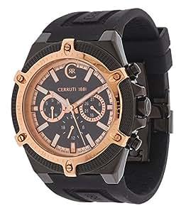 Cerruti 1881 - CRA036D224H - Montre Homme - Quartz - Analogique - Chronomètre - Bracelet Divers matériaux Noir