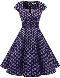 Bbonlinedress Vestido Corto Mujer Retro A?os 50 Vintage Escote En Pico