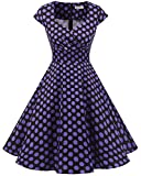 bbonlinedress 1950er Vintage Retro Cocktailkleid Rockabilly V-Ausschnitt Faltenrock Black Purple BDot 2XL