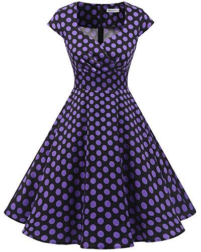 bbonlinedress 1950er Vintage Retro Cocktailkleid Rockabilly V-Ausschnitt Faltenrock Black Purple BDot M (Kinder Der 60er Jahre Kleider)