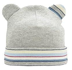 For you Baby Mütze Jungen Übergangsmütze Erstlingsmütze Frühchenmütze Beanie mit Ohren Baumwolle in Größe 36 und 38 ca. 0-6 Monate Elfenbein Blau Grau Weiß (38, Grau)