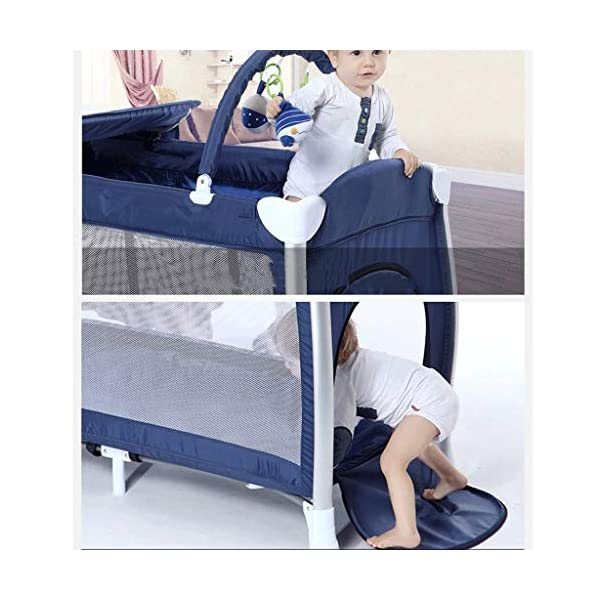Travel Crib Cots Baby Nest Pod Bassinet Multifunctional Crib Travel Cots for Baby Sleeptight Game Bed Portable Folding with Mattress Mosquito Net 3 Colors (Color : A) OZYN Travel cots 【2-IN-1 BABY TRAVEL COT】There are two layers on this baby travel bed, the top layer is suitable for feeding and resting, and the bottom layer is ideal for crawling or learning to walk. You can use our infant cot in various kinds of places according to your different needs. 【MATERIAL】High quality oxford material, soft and comfortable, free of paint formaldehyde, wear-resistant, dirt-resistant, durable, preferably coir mattress, care for your baby's body and healthy growth 【SAFE CONSTRUCTION FOR BABY】Breathable mesh bed, protect your baby from bruising and bruising, good for air circulation, round corner bed, white plastic material, durable and rust-free, protect your baby from harm 6