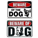 Coversolate 2 Stück Hund Schild/Metall Warnzeichen Hund, Achtung Hund/Warnschild Hundelogo, Door Signs Beware Guard Dog, Weatherproof, Home Deko (2 Stück)