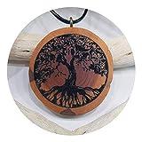 SOULSLICES Baum des Lebens 2 Holz-Kette - Natur - Holzanhänger - Vegan - Nachhaltig - Astschmuck - Gravur - Yoga - Bedeutung- Geschenk - Natur-Schmuck - Damen - Frauen