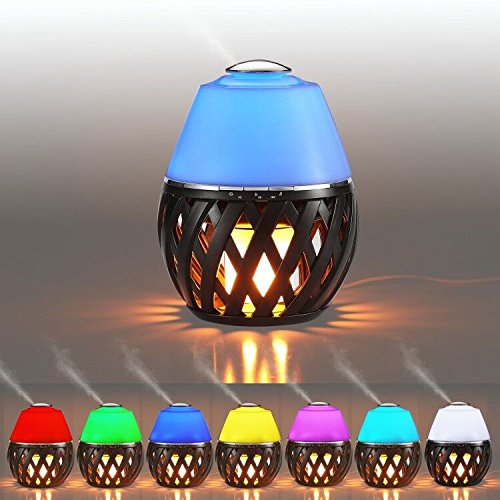 New Aroma Diffuser150ml mit Ultraschall Öl Diffusor Luftbefeuchter Duftzerstäuber Humidifier Aromatherapie Diffusor 7 Farben LED Licht Tragbarer tragbarer Flicker Feuer 96 LEDs Flammenlampe (Beste Aromatherapie-luftbefeuchter)