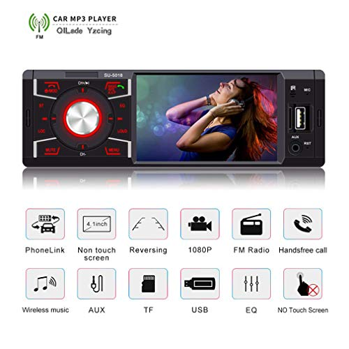 QILade Yzcing Autoradio mit Bluetooth 4,1 Zoll Single Din Radio für Auto MP5-Player USB/SD/AUX/FM-Empfänger AutoRadio Wireless Remote Control Support Kamera Mp4 Mpg Converter