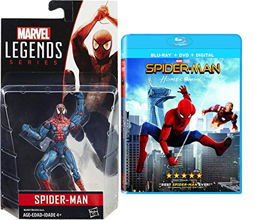 Legend's + Studios Amazing Spider-Man Bundle: Marvel Legends Spider-Man Figure & Spider-Man Homecoming (Blu-ray/ DVD/ Digital) Hero SET