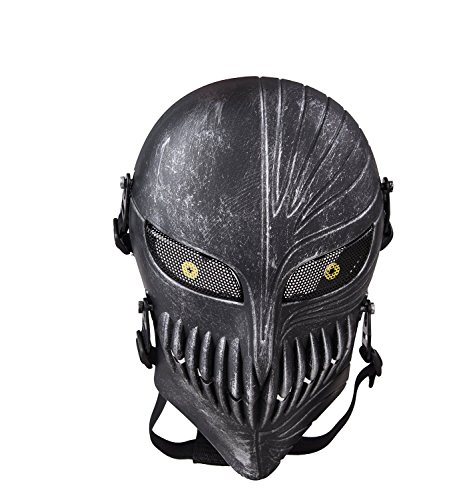 Signstek Totenkopf Schädel Vollschutzmaske Tactical Maske Scary Geistermaske für Halloween, Softair, CS usw (Silberschwarz) Image