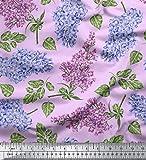Soimoi Lila Viskose Chiffon Stoff Blätter & Lilie Blumen-