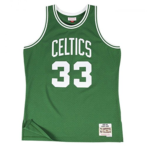 Mitchell & Ness Larry Bird #33 Boston Celtics 1985-86 Swingman NBA Trikot Grün, L (Basketball-ringer)
