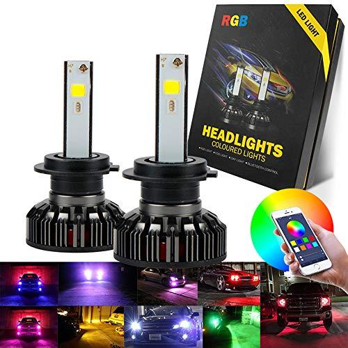 KFX H1 LED,LED H1,Abbaglianti H1 LED COB Canbus 50W LED RGB Lampade per fari Bluetooth Car Cuffie App Controllo Musica Voice 6500 k Colore Fari 9v 32v