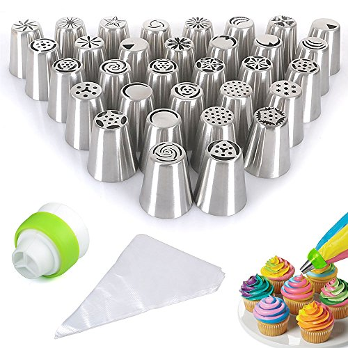 reelva-russian-piping-tips-32pcs-set-stainless-steel-icing-syringe-set-diy-100-disposable-pastry-bag