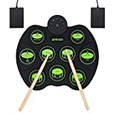ammoon Set di Batterie Elettroniche Portatili Touch-up Sensibile Al tocco Digitale Kit di Batteria 9 Drum Pads 2 Pedali Principianti per Bambini