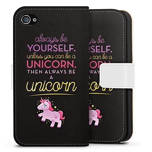 Apple iPhone 8 Plus Silikon Hülle Case Schutzhülle Einhorn Unicorn Lustig Sprüche Sideflip Tasche weiß
