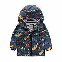 Meanbear Boys Raincoat School Rain Jacket Car Tractor Fashion Design Hooded 100% Cotton Lined Showerproof Breathable