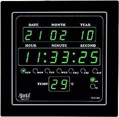 Ajanta Digital Wall Clock Green LED,Black Body,with Glass (28.2 cm x 26.4 cm x 4.2 cm, Black)