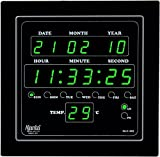 #7: Ajanta Digital Wall Clock Green LED,Black Body,with Glass (28.2 cm x 26.4 cm x 4.2 cm, Black)