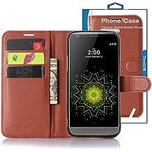 TopAce® Coque LG G5, [Card Slot Series] Housse Etui en PU cuir Avec Wallet UltraSlim pour LG G5 (Marron)