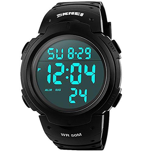 Herren Sport Digital Uhren–Outdoor Wasserdicht Sport Armbanduhr mit Wecker/Timer, Big Face Military Handgelenk Uhren mit LED-Hintergrundbeleuchtung für Running Herren–Schwarz von vazeedo
