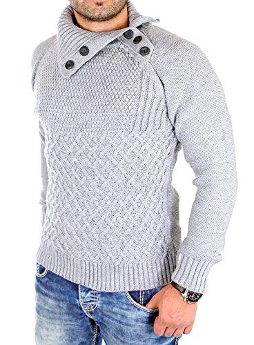 Tazzio Strickpullover Herren Grobstick Winter-Pullover TZ-16472 Grau