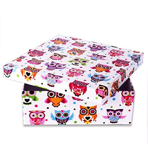 """Geschenkkarton """"Fröhliche Eulen"""" , Größe 16 x 16 x 6,5 cm - Geschenkbox in 8 Größen erhältlich"""