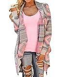 LaoZan Damen Langarmshirt Geometrische Irregular Lose Pullover Mantel Outwear Tops Strickmantel Strick Loose Strickjacke Cardigan Kimono Rot Large