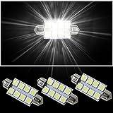 Muchkey® Lampadine LED per luci abitacolo auto, 41mm, 8 LED 5050Smd, bianco, 3 pezzi