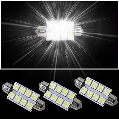 Muchkey® ampoules LED de voiture pour intérieur. Double Fastoon 41 mm 8 LED 5050SMD. Blanc. Lot de 3
