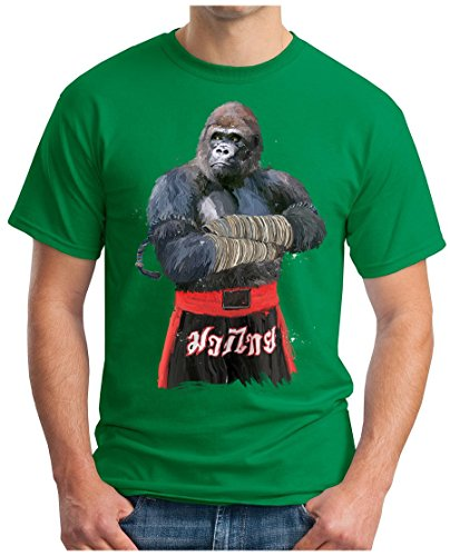 OM3 - MUAY-THAI-GORILLA - T-Shirt THAILAND MONKEY FIGHT APE BOXING CLUB MOTIVATION SWAG EMO Grün
