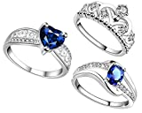 #8: Lady touch Combo Of Silver Plated Blue Diamond Rings And Crown Ring For Girl's And Women's_Adjustable (Free Size)