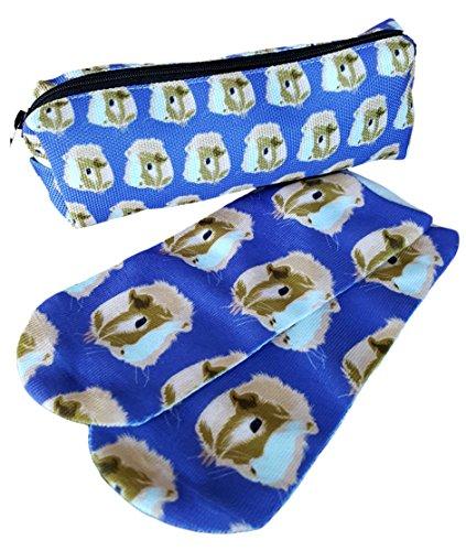 Set von Meerschweinchen Kopf Face Print Bleistift Fall und Knöchel Socken von The Crazy Guinea Pig Lady (Print-knöchel-socken)