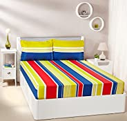 Amazon Brand - Solimo Vivid Stripes 144 TC 100% Cotton Double Bedsheet with 2 Pillow Covers, Yellow and Blue