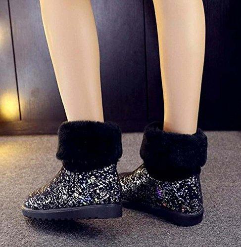 Caricamenti del sistema di neve delle donne Flat Tall Bootie Round Toe Sequins Stivali Short di Bling Dolce Flanging Casual Scarpe da esterno Dimensione Eu 33-43 Black
