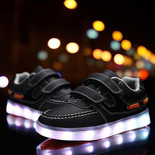 (Présents:petite serviette)JUNGLEST® Kid Garçon Fille de recharge USB LED Light Up Sport Chaussures de course Clignotant Sne Noir