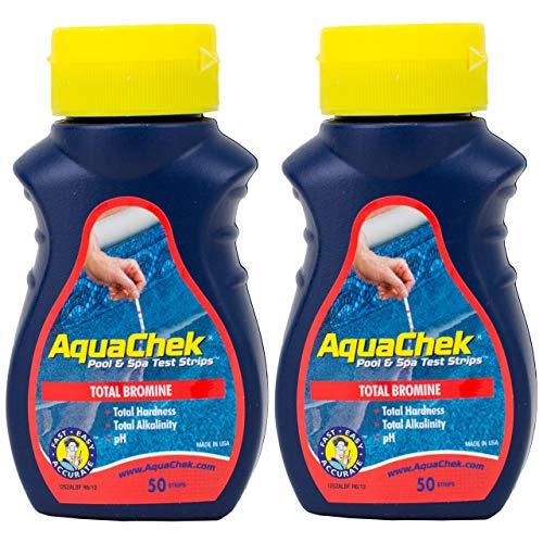 2er Pack AquaChek Brom in Teststreifen für Pool und Whirlpool, Spa Wasser-2x 50Karat Flaschen (100Tests insgesamt) -