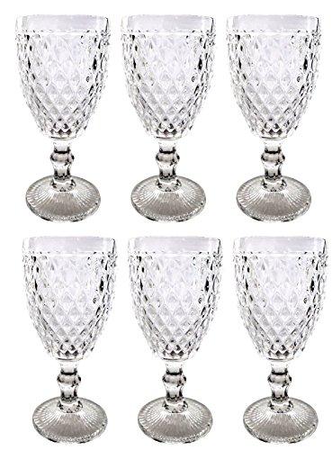 Vintage 6 Teile Set Netz Klar 16-1 König Weinglas Glas Gläser Weingläser Wasserglas Longdrinkglas