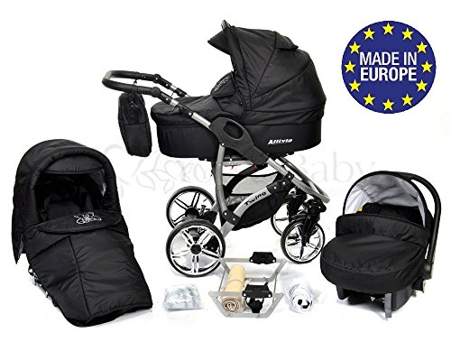 Allivio, 3-in-1 Travel System with Baby Pram, Car Seat, Pushchair & Accessories, Black 51e4P0xN2LL