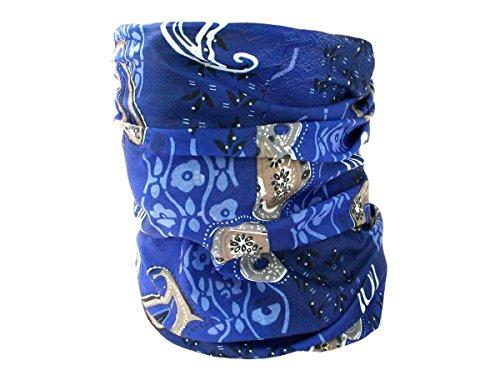 Foulard fazzoletto da collo sciarpa funzionale multiuso scaldacollo tubolare leggero e morbido estate primavera autunno inverno loop anello ragazze colorati stola accessorio moderno lifestyle, multiscarf 43-61:blu paisley 43
