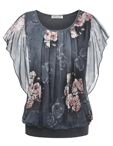 BaiShengGT Damen Falten Kurzarm Tunika Batwing Rundkragen Bluse Grau-Blumen Medium
