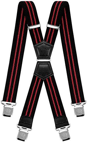 Decalen Hosenträger für Herren mit 4 Starken Clips X Form Lang Eine Größe Passt Alle Verschiedenen Farben (Schwarz mit Rot)