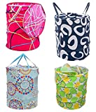 AMR Multipurpose Foldable and Collapsible Pop-Up Round Laundry Bag Basket with Zippered Lid(14x14x23-inches, Random Colour)