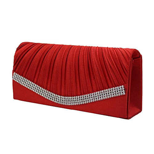 Damen Handtasche mit Strassbesatz Ulanda Satin Clutch Schultertasche Falten Abendtasche Frauen Umhängetaschen Abend Hochzeit Braut Partei Abschlussball Geldbörse Umschlag Handtasche Rot